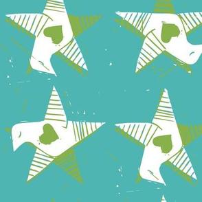 Star Bird Green Heart