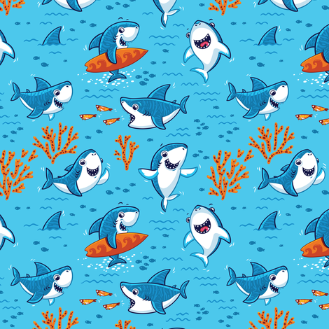Sharks fabric by penguinhouse on Spoonflower - custom fabric