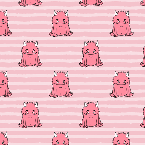 little monsters || pink on stripes fabric by littlearrowdesign on Spoonflower - custom fabric