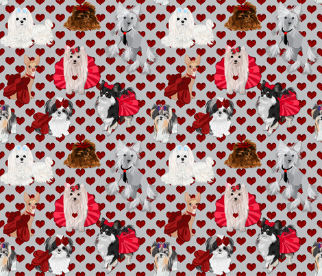 Valentine Party -Grey with Leopard Hearts fabric by sherry-savannah on Spoonflower - custom fabric