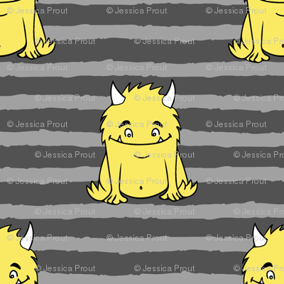 little monsters || yellow on grey