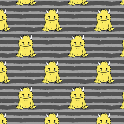 little monsters || yellow on grey fabric by littlearrowdesign on Spoonflower - custom fabric