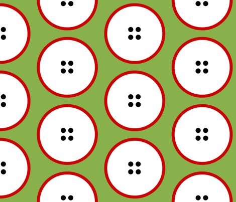 GIANT red-rimmed button polka dots on green by Su_G fabric by su_g on Spoonflower - custom fabric