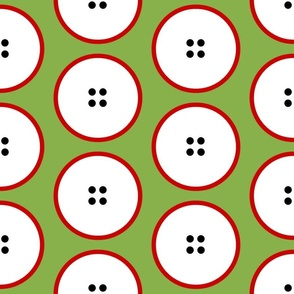GIANT red-rimmed button polka dots on green by Su_G