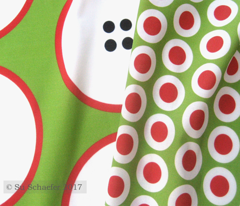 Red + white buttonsnaps or polka dots on green by Su_G_©SuSchaefer