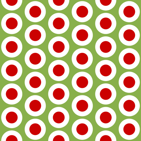 Red + white buttonsnaps or polka dots on green by Su_G fabric by su_g on Spoonflower - custom fabric