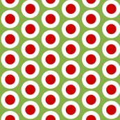 Red + white buttonsnaps or polka dots on green by Su_G