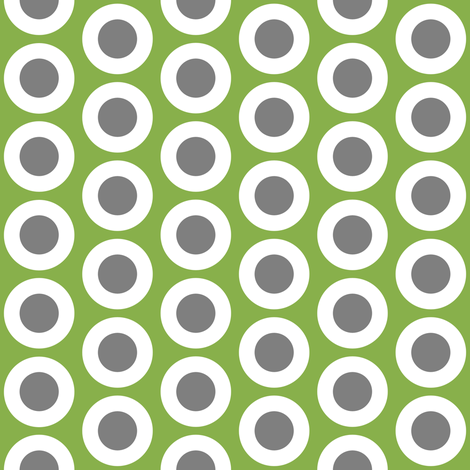 Gray + white buttonsnaps or polka dots on green by Su_G fabric by su_g on Spoonflower - custom fabric