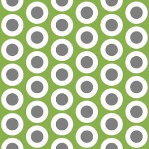 Gray + white buttonsnaps or polka dots on green by Su_G