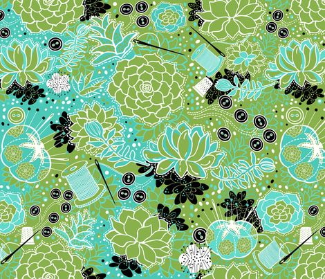 Hand sewn succulents fabric by honoluludesign on Spoonflower - custom fabric