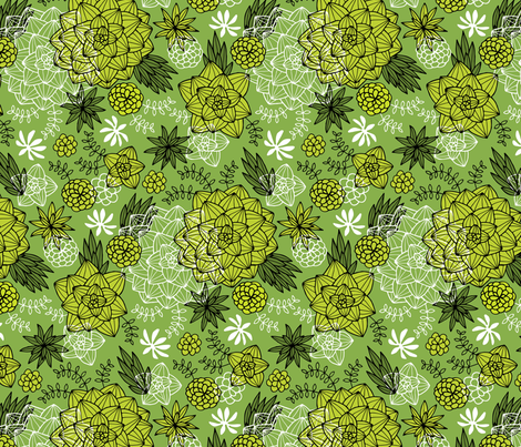 graphic succulents greenery fabric by heleen_vd_thillart on Spoonflower - custom fabric