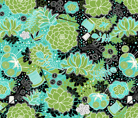 Hand-sewn Succulents Celebrating Greenery fabric by honoluludesign on Spoonflower - custom fabric