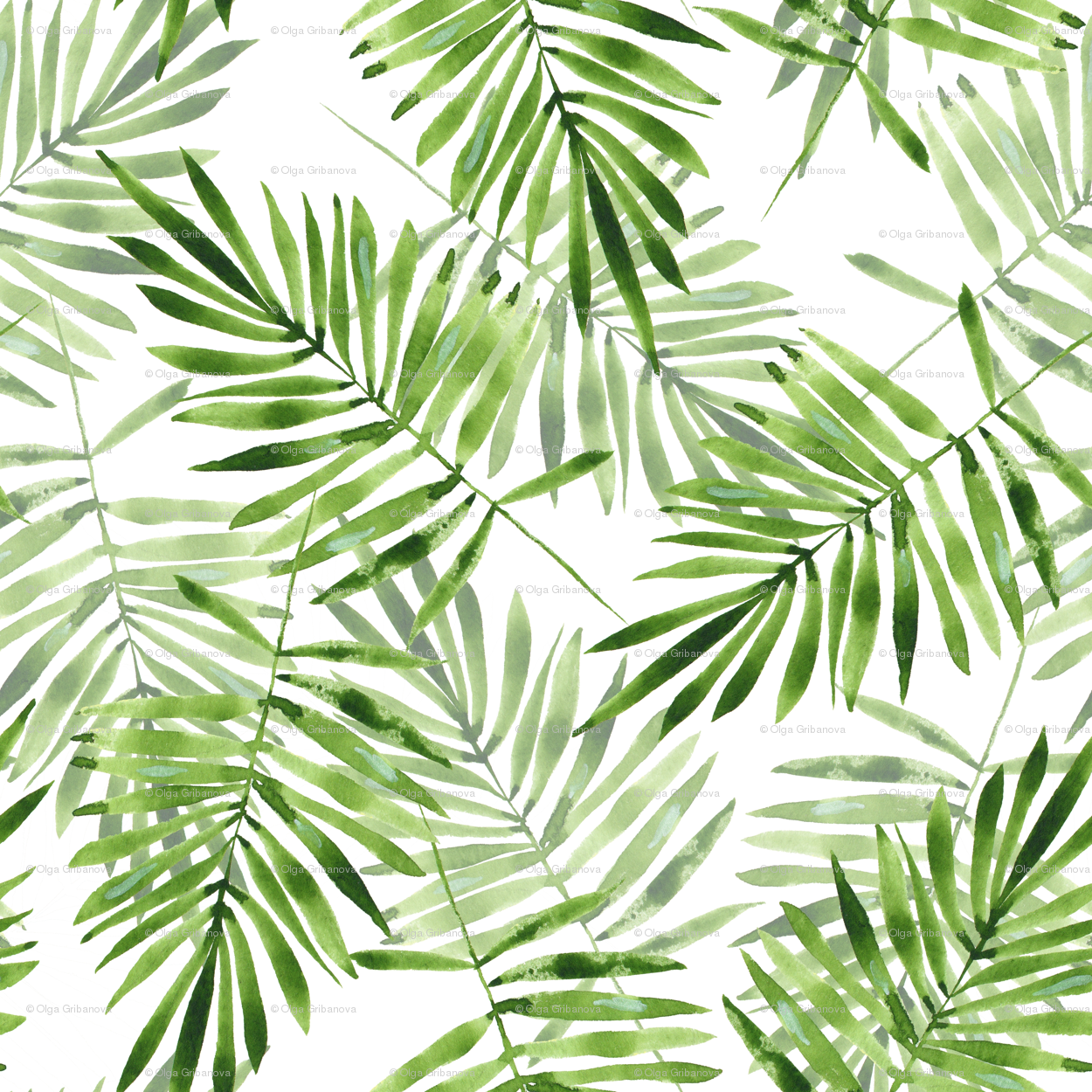 green palm leaves fabric gribanessa spoonflower