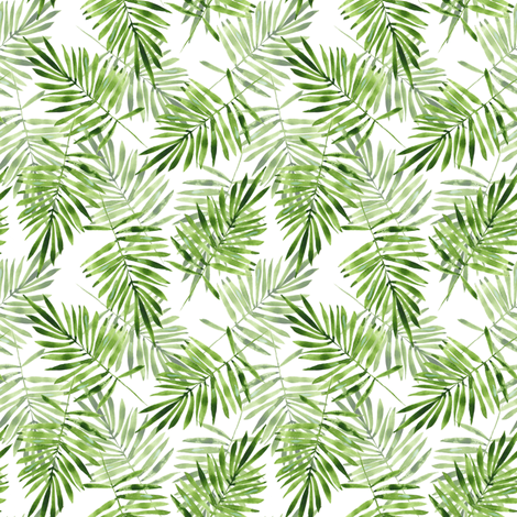 Green palm leaves fabric by gribanessa on Spoonflower - custom fabric