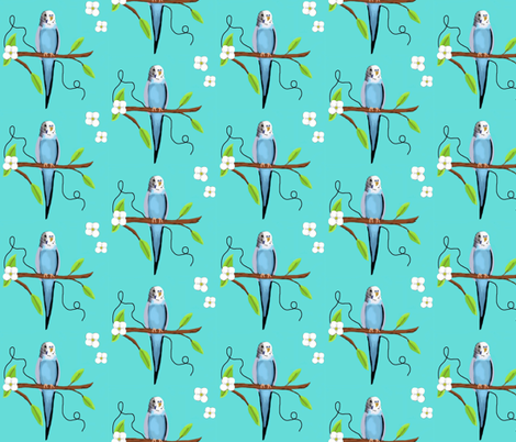 Budgie On Branch  fabric by franbail on Spoonflower - custom fabric