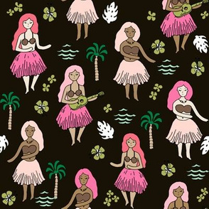 hula girls // tropical summer surf beach retro cute hawaii fabric