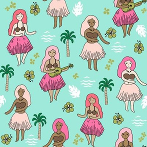 hula girls // bright mint hula girl tropical fun print cute girls summer retro cabana wear hawaii design
