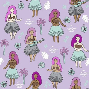 hula girls // purple tropical summer retro surf wear cute hawaiian girls fabric