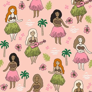 hula girls // blush mint pink girls fabric cute summer tropical design surf summer hawaii fabric