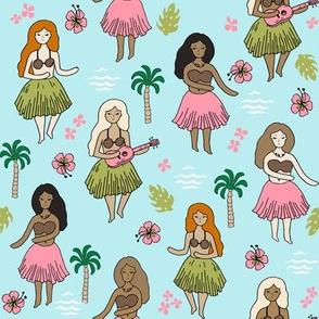 hula // hula girls light blue summer tropical surf design cute summer fabrics hawaiian fabric