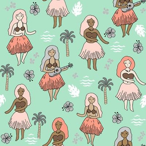 hula girls // mint and coral summer surf design tropical hawaii fabric