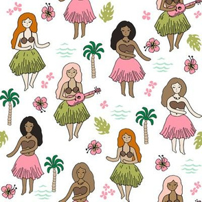 hula girls //white mint pink fabric cute girls summer tropical design best summer fabric  cute design