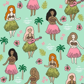 hula girls // mint and pink hula girl hawaii fabric cute hawaiian surf summer tropical design