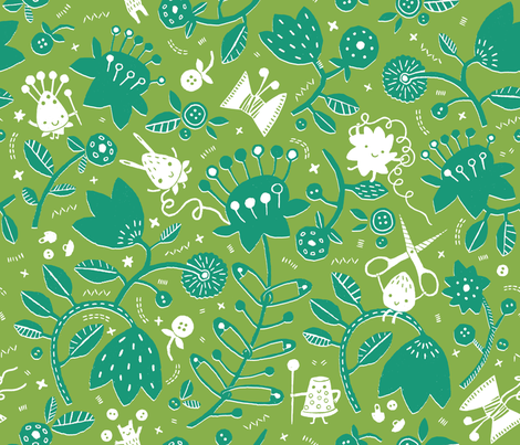 Sewing Wonderland fabric by ollyka on Spoonflower - custom fabric
