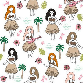 hula girls // simple summer surf retro fabric white background girls surf summer design