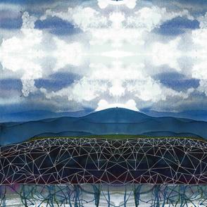 Zen Mountain Range Watercolor