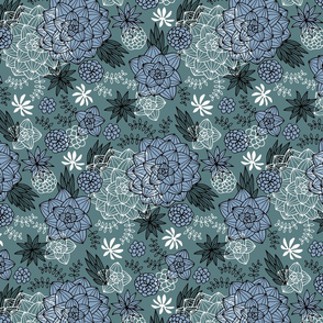 Graphic succulents navy