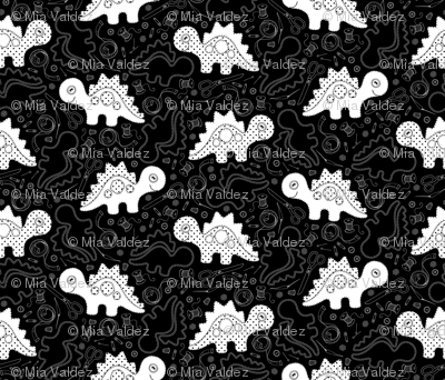 Sewing Dinosaurs_Black and White