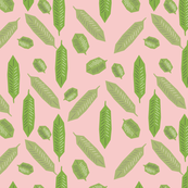 Feathered Greenery and Rose Quartz