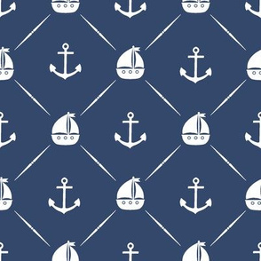 Anchors & Sailboats // Navy Blue