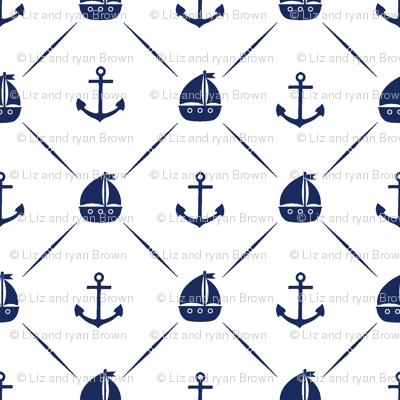 Navy Anchors & Sailboats