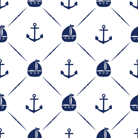 Navy Anchors & Sailboats  fabric by thinlinetextiles on Spoonflower - custom fabric