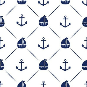 Navy Anchors & Sailboats