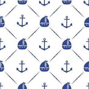 Blue Anchors and Sailboats