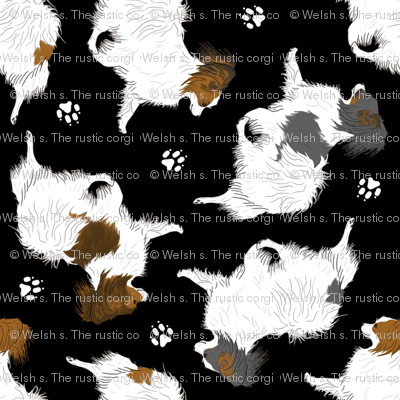 Trotting Papillons And Paw Prints Black Fabric