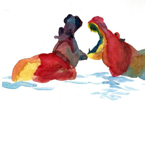 Yawning Hippos Minimalist Watercolor