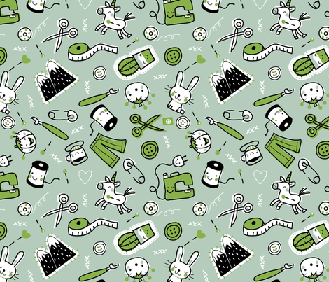 Sewing in Green fabric by bora on Spoonflower - custom fabric