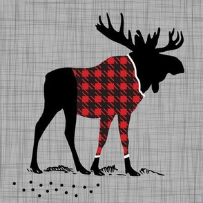 "8"" Quilt Block - Moose with buffalo plad shirt"