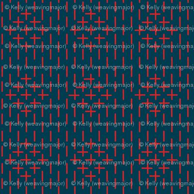 faux sashiko diamond - red on nautical navy