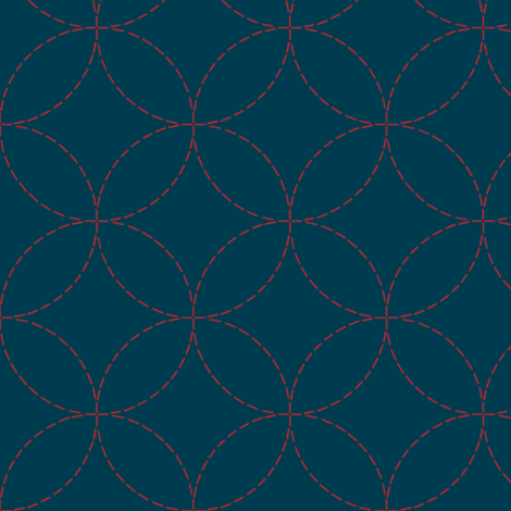 sashiko circles - red on nautical navy fabric by weavingmajor on Spoonflower - custom fabric