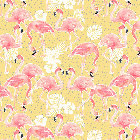 Tropicana Flamingo (gold) SMALL) fabric by nouveau_bohemian on Spoonflower - custom fabric