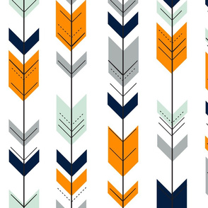 fletching arrows || navy, orange,mint,grey