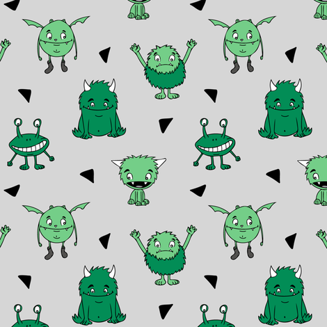 all the monsters (small scale) || dark green  fabric by littlearrowdesign on Spoonflower - custom fabric