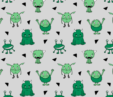 all the monsters  || dark green  fabric by littlearrowdesign on Spoonflower - custom fabric