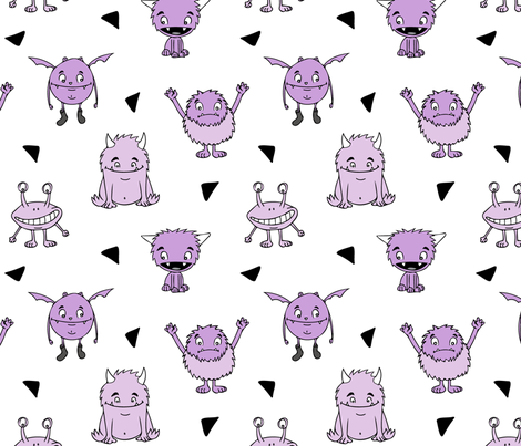 all the monsters || purple on white  fabric by littlearrowdesign on Spoonflower - custom fabric