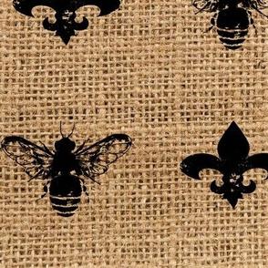 Fleur de Bees Black on Burlap